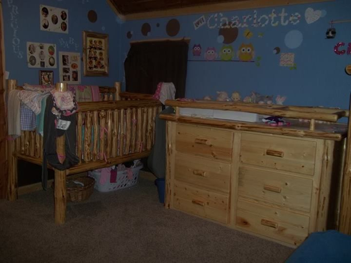 log crib and dresser with changing table by K&A Log Furniture www ...