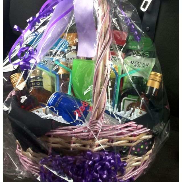 diy liquor basket 21st bday add advil h2o energy drink gatorade