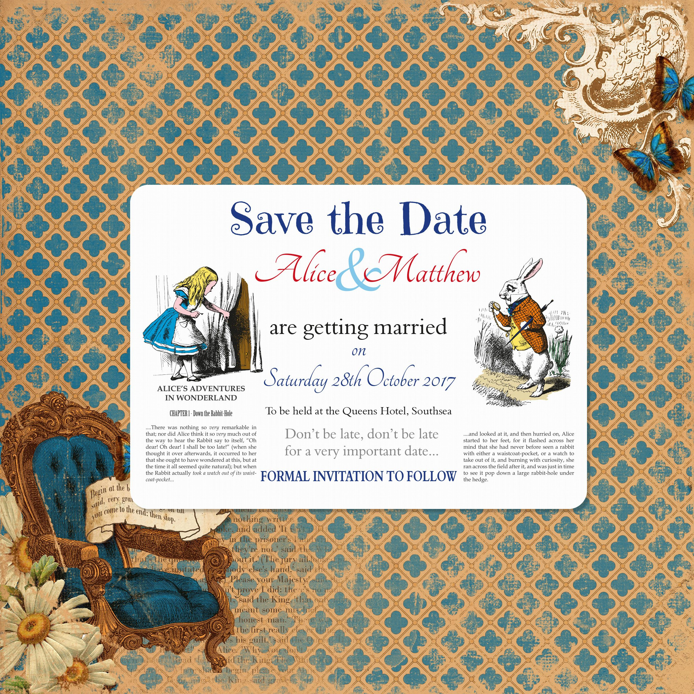 Matching Save the Date card | Vintage Alice in Wonderland ...