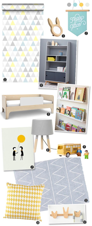Une chambre r tro scandinave en gris et bois id es d co suite parentale chambre chambre - Chambre enfant scandinave ...