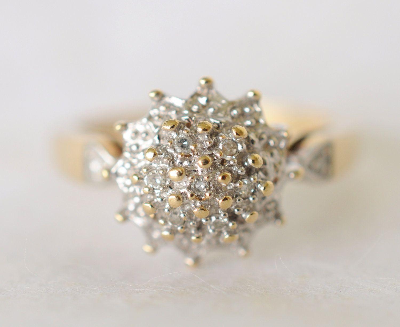 1970s vintage engagement ring diamond cluster engagement