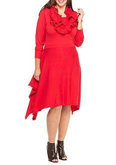 8e8ddd57083 Lennie for Nina Leonard Plus Size Hankie Hem Sweater Dress with Ruffle  Infinity Scarf