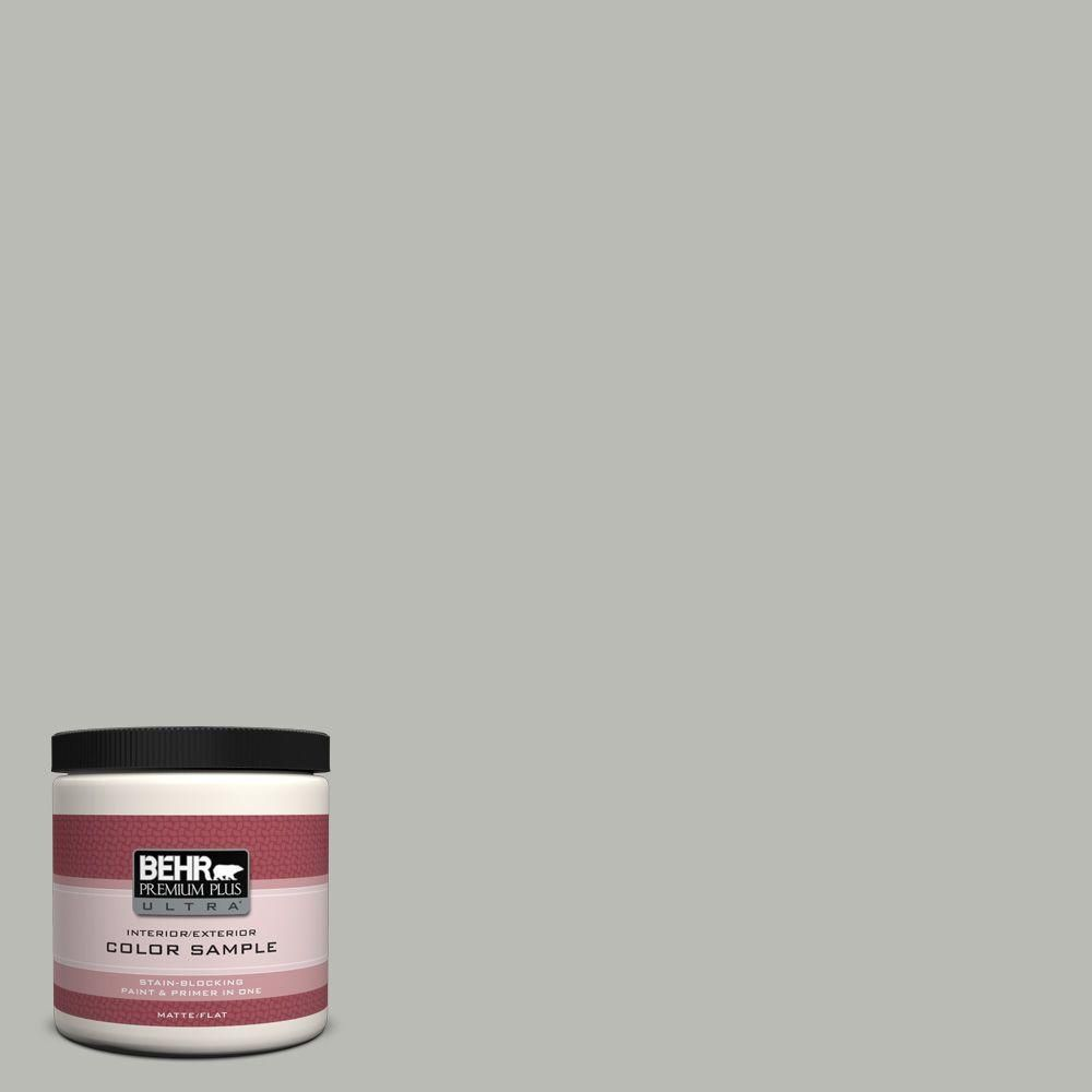 Behr Premium Plus Ultra 8 Oz N380 3 Weathered Moss Matte Interior Exterior Paint And Primer In