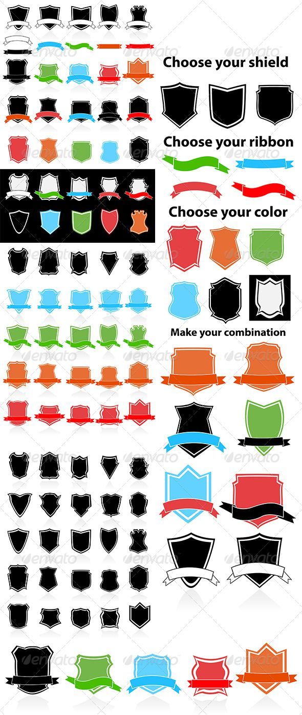 Shield symbol and icons symbols change colour and icons shield symbol and icons graphicriver create your own shieldchoose from 5 different colors biocorpaavc Gallery