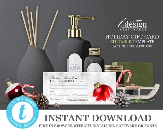 christmas gift certificate template holiday gift cards instant