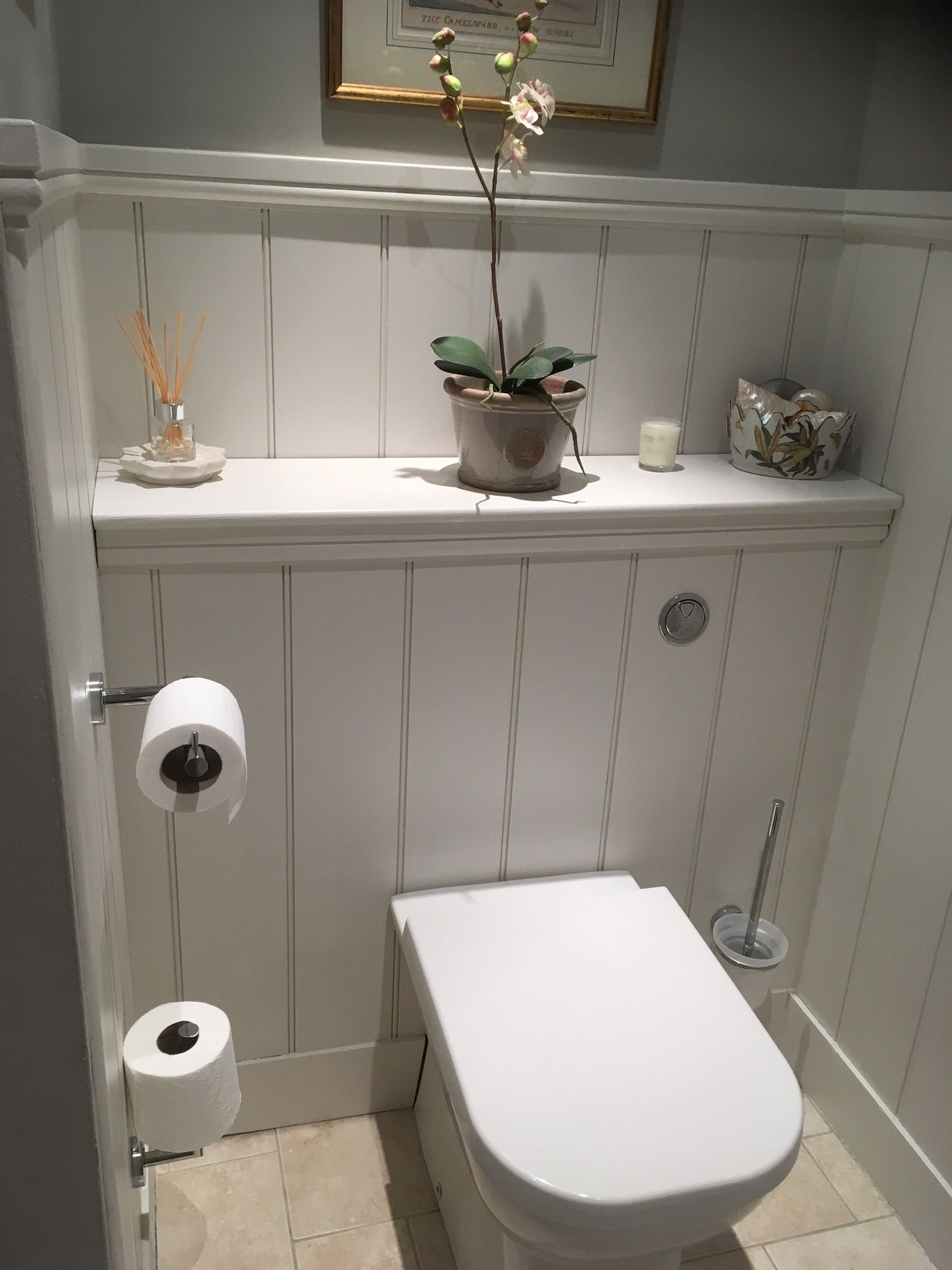 Inspired to use butt and bead panelling and Farrow and Ball purbeck stone estate emulsion and strong white estate eggshell. Delighted! #smalltoiletroom