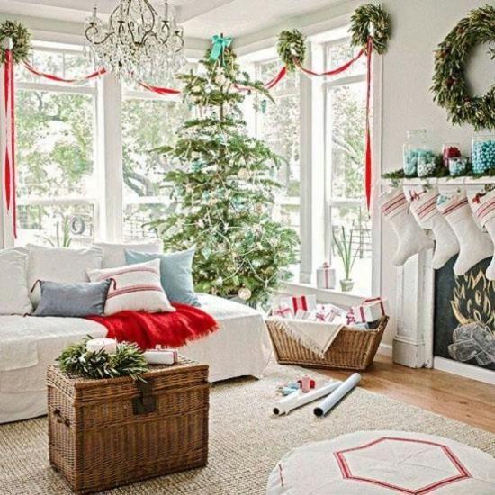 Christmas Living Room Decor Red White Light Blue