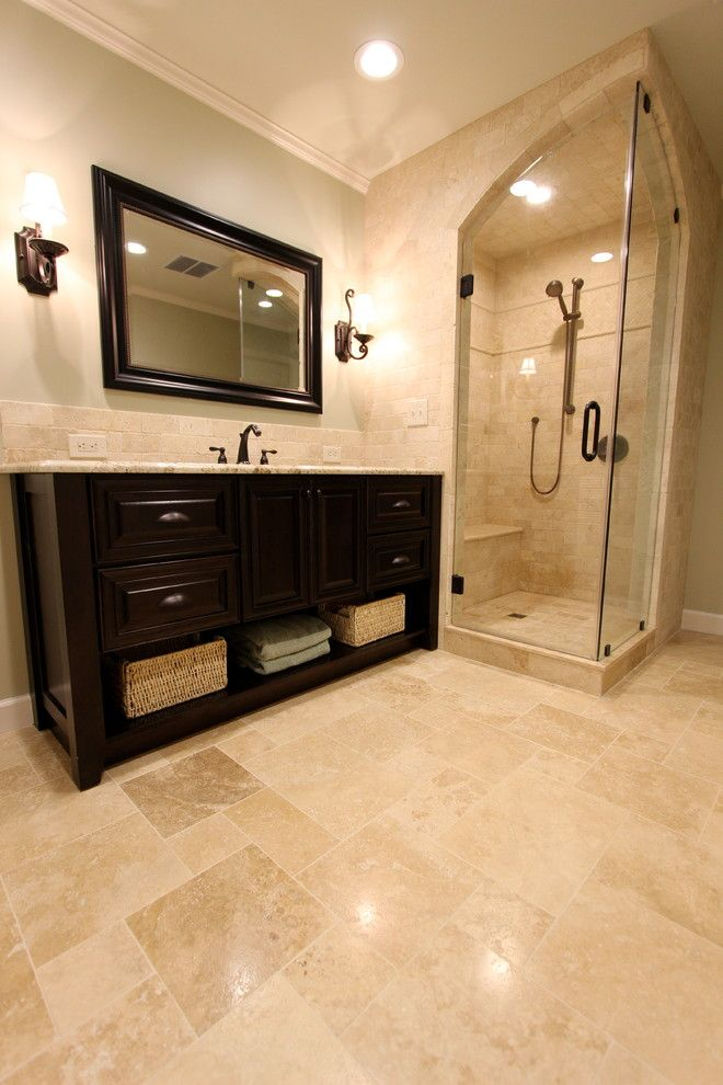 Ivory Travertine Tile Bathroom Traditional With Arch Glass Door Body