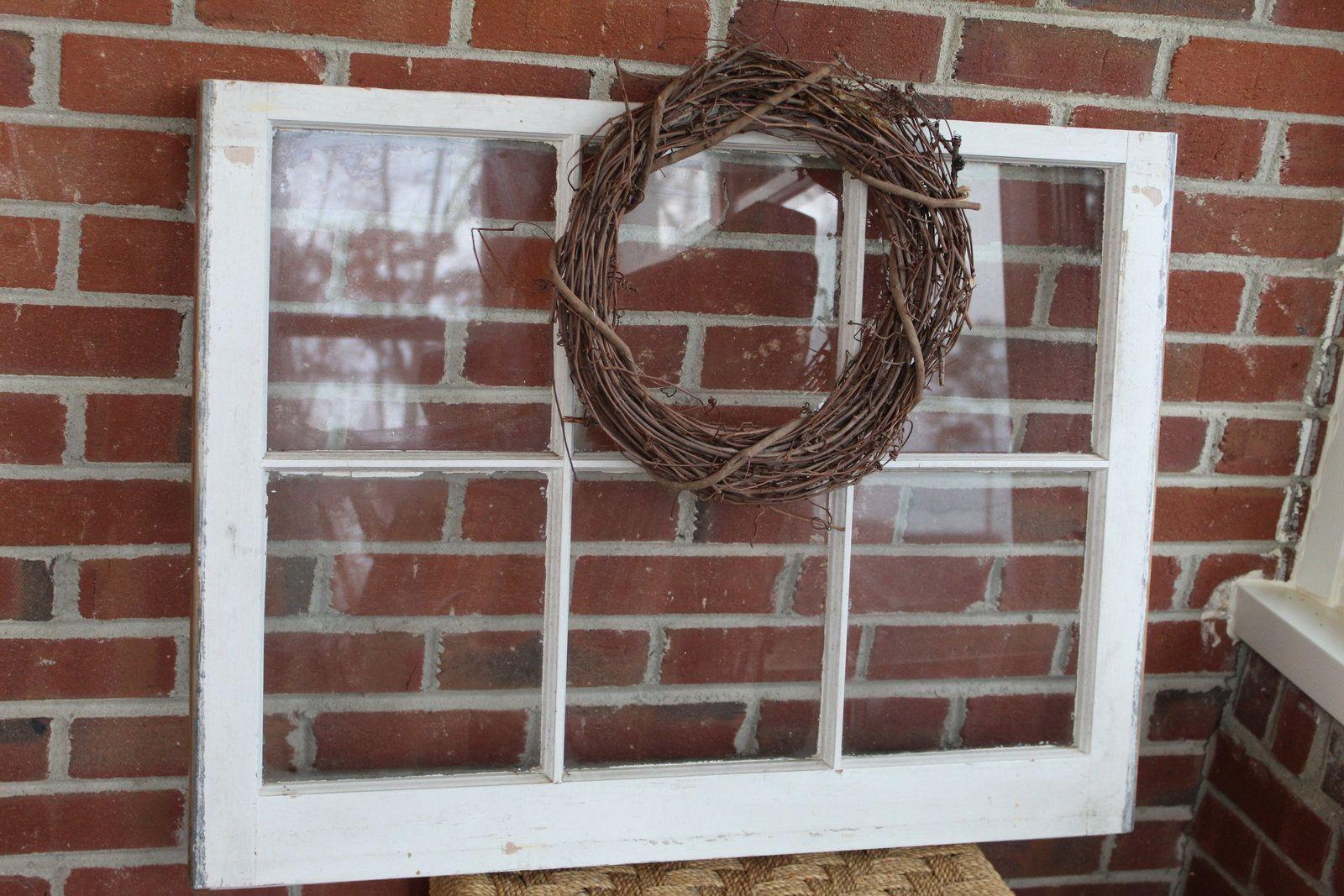 Vintage Large Wooden Window Pane Frame Painted 6 Pane Window With Glass By Creeklifetreasures Wood Window Oldwindow Diy Wood Framed Mirror Old Wood Faux Wood Tiles