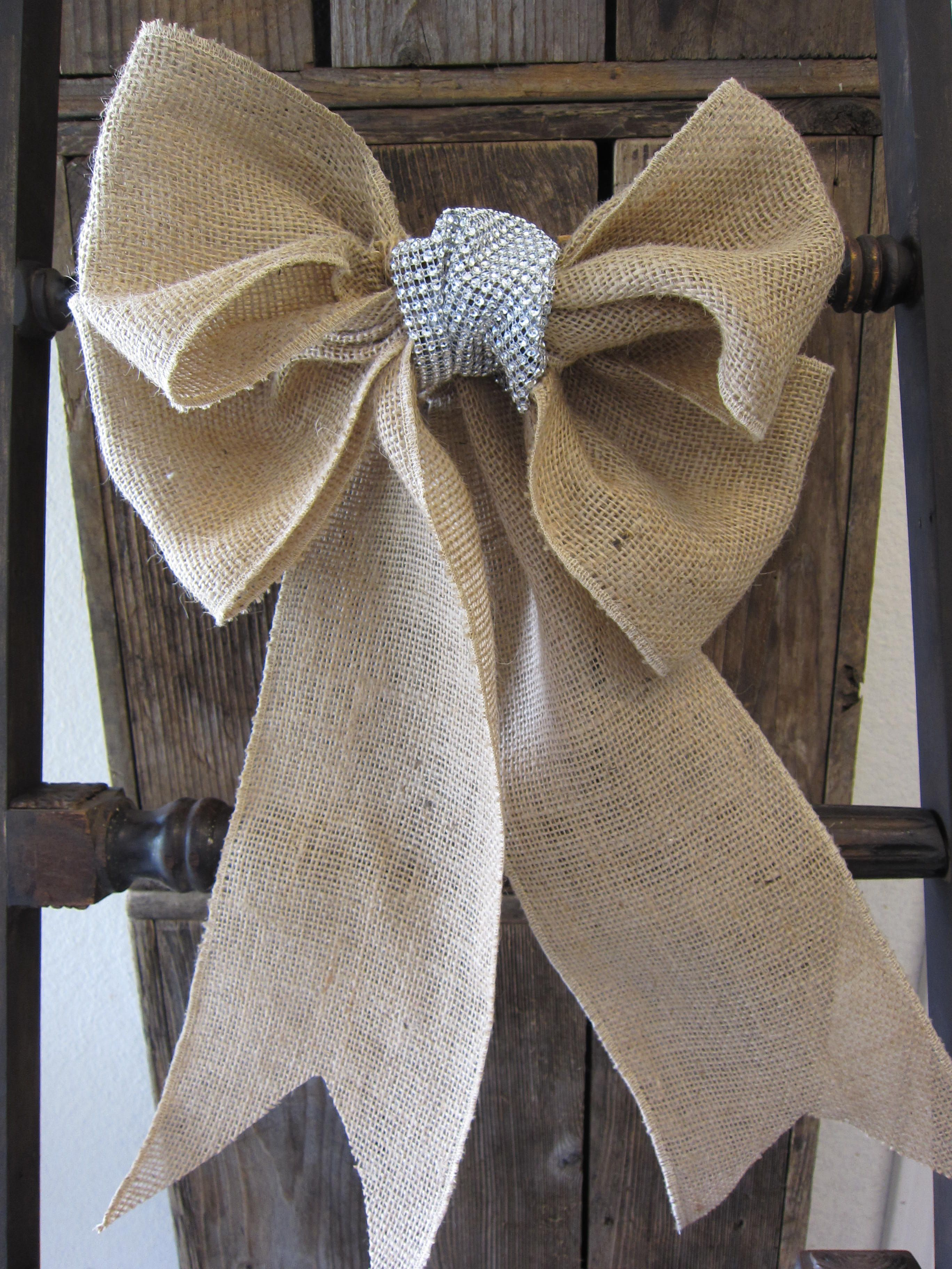Christmas burlap rustic bow with rhinestone center