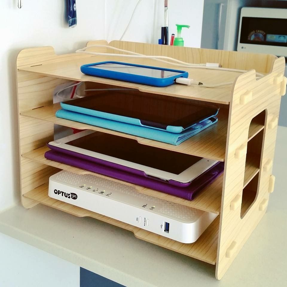 Kmart Stationary Wooden Trays Charging Hack