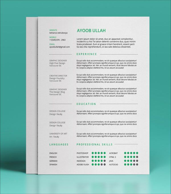 10 Best Free Resume (CV) Templates In Ai, Indesign U0026 PSD Formats  Free Templates For Resumes