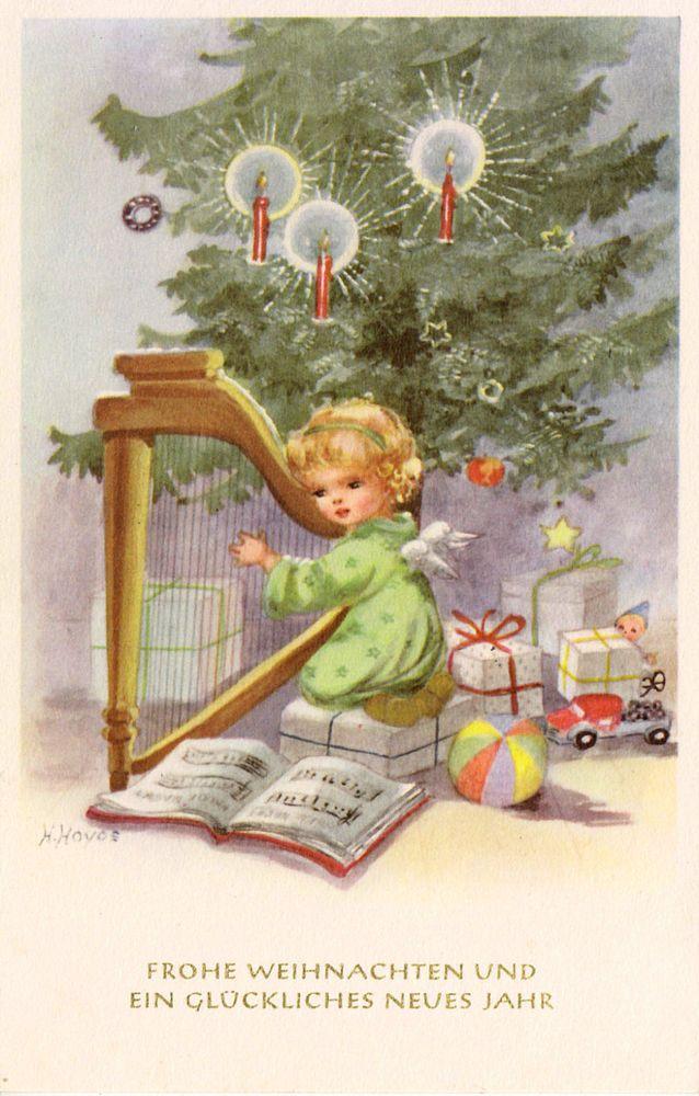 ak weihnachten hoyos kleiner engel mit harfe blanco. Black Bedroom Furniture Sets. Home Design Ideas