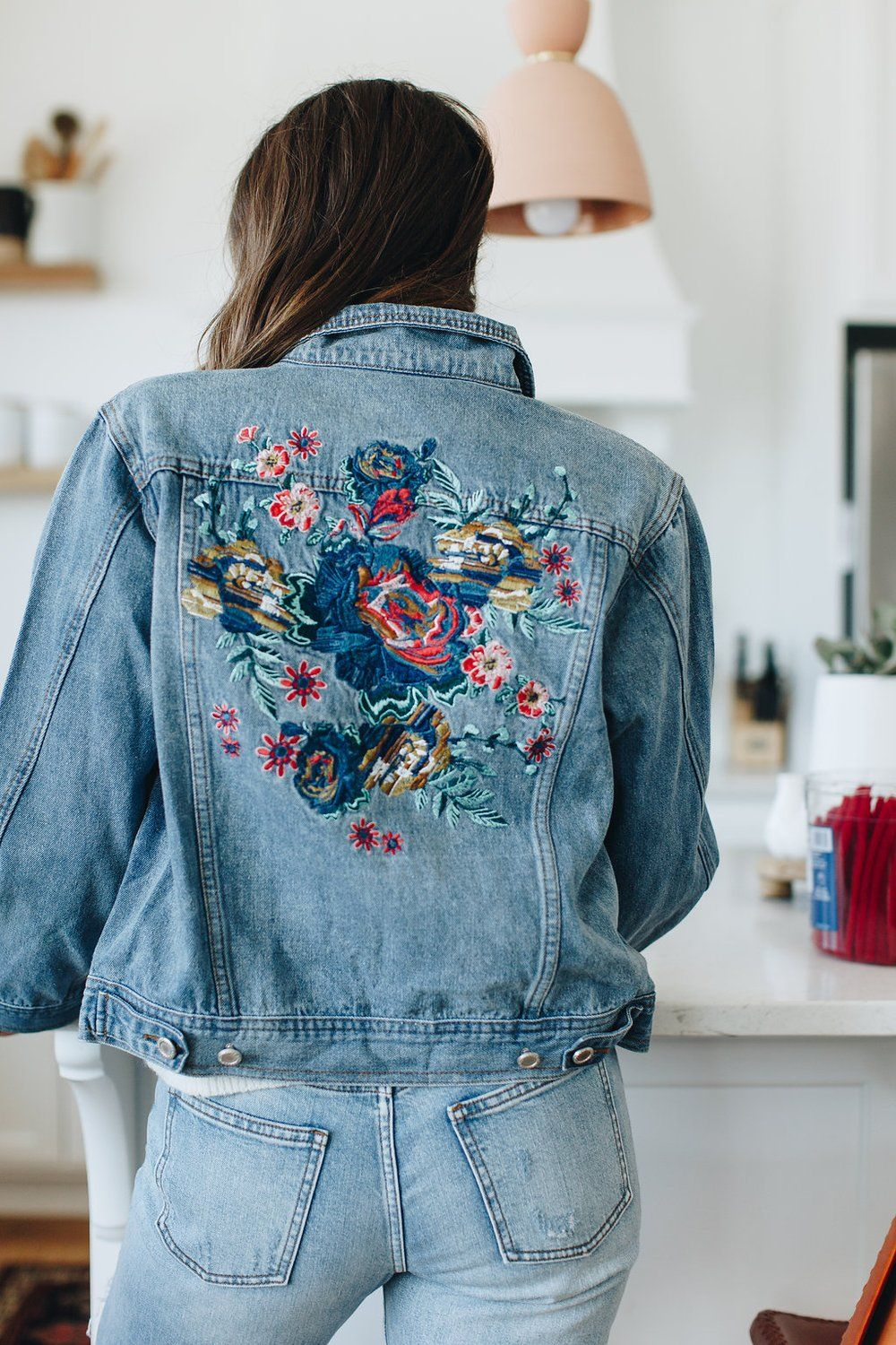 Blue Denim Jacket With Floral Embroidered Details On Back And Front Pockets Available In Embroidered Denim Jacket Embroidered Denim Denim Jacket Embroidery [ 1500 x 1000 Pixel ]