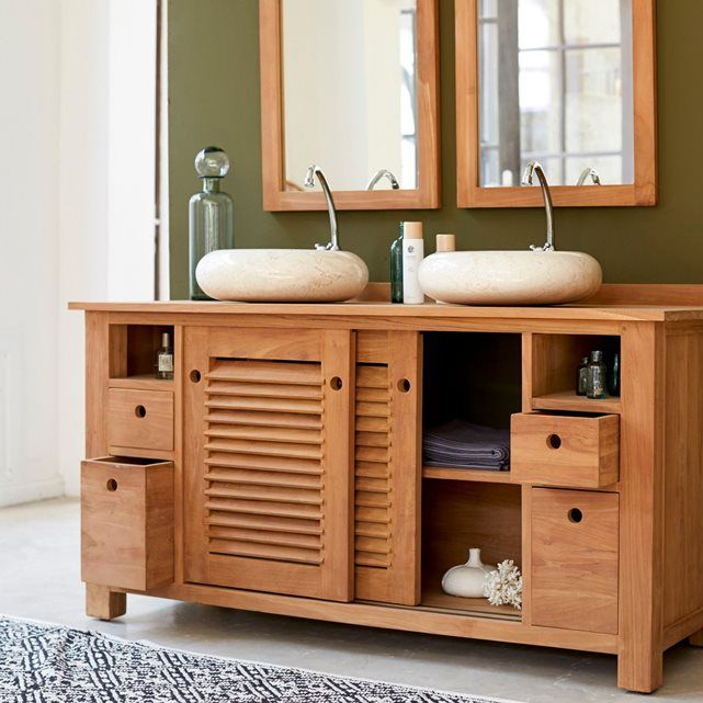 meuble salle de bain en bois de teck 145 coline tikamoon. Black Bedroom Furniture Sets. Home Design Ideas