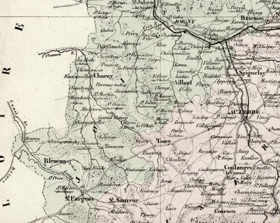 Map Of Yonne France.Antique Map Of Yonne France With Inset Of Auxerre Handcolored