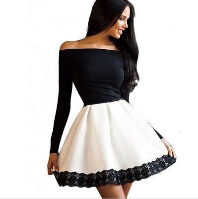 Details zu ♥ kurzes Mini Damen Kleid Abendkleid schwarz weiß Spitze ...