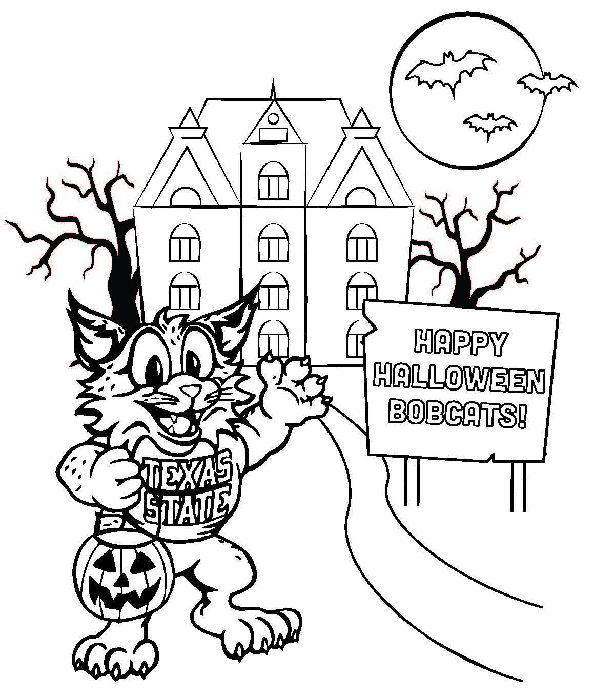 Halloween Bobcat Coloring Sheet From The Texas State