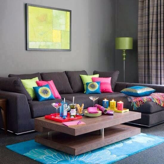 Colorful Receiving Area Chic Living Room Design Gray Living