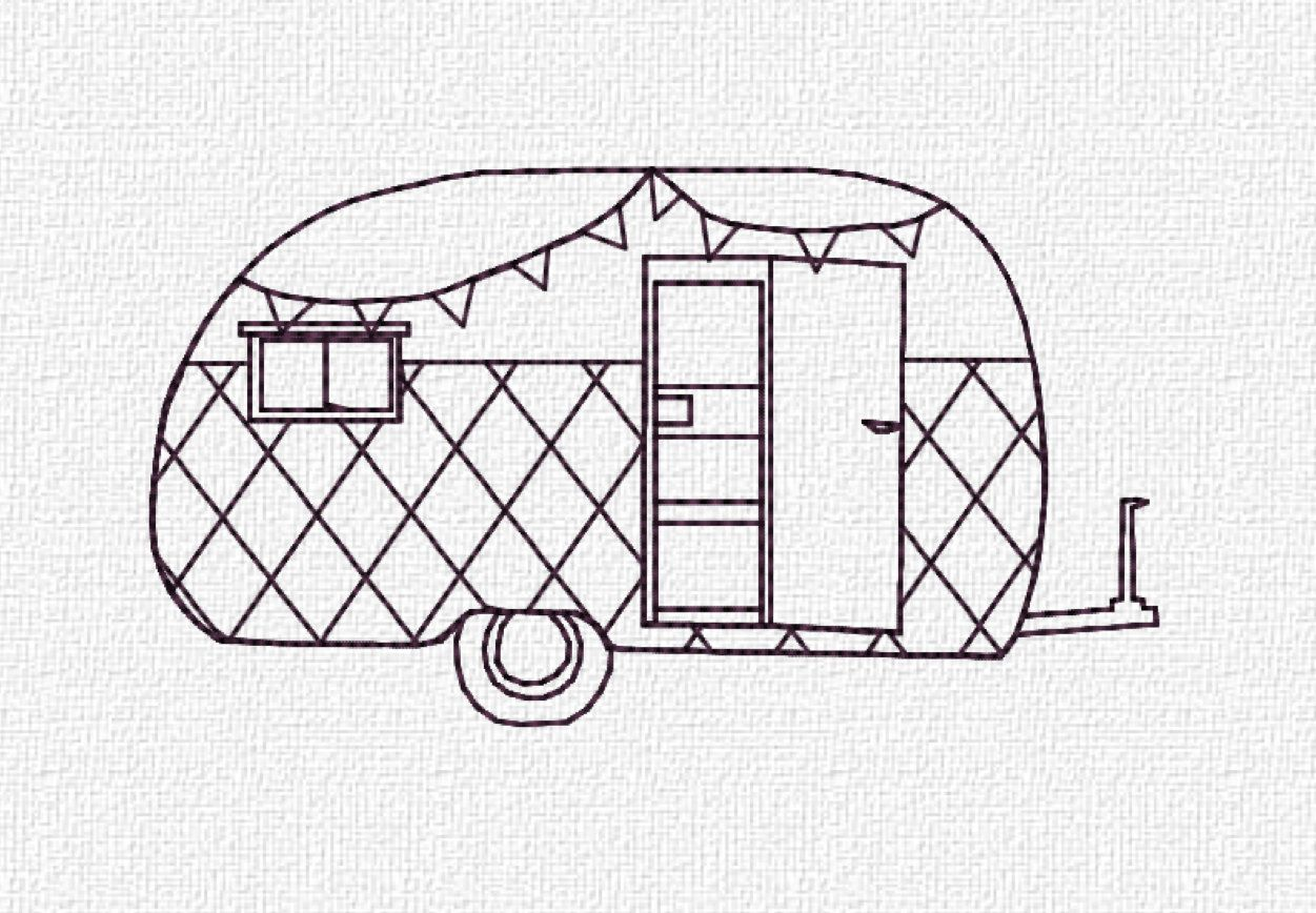 Redwork Retro Camper By Katie Lyons This Is A Machine Embroidery Pattern You Must Have An To Use Item
