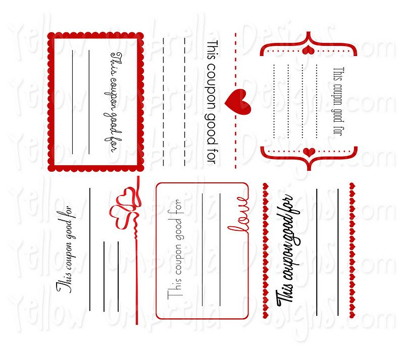Yellow umbrella designs valentine coupons free for Love coupons for him template