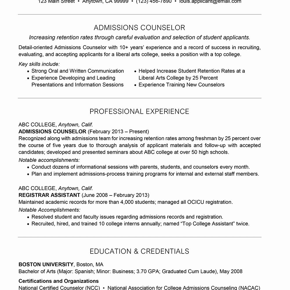 23 Academic Advisor Resume Examples In 2020 Admissions Counselor