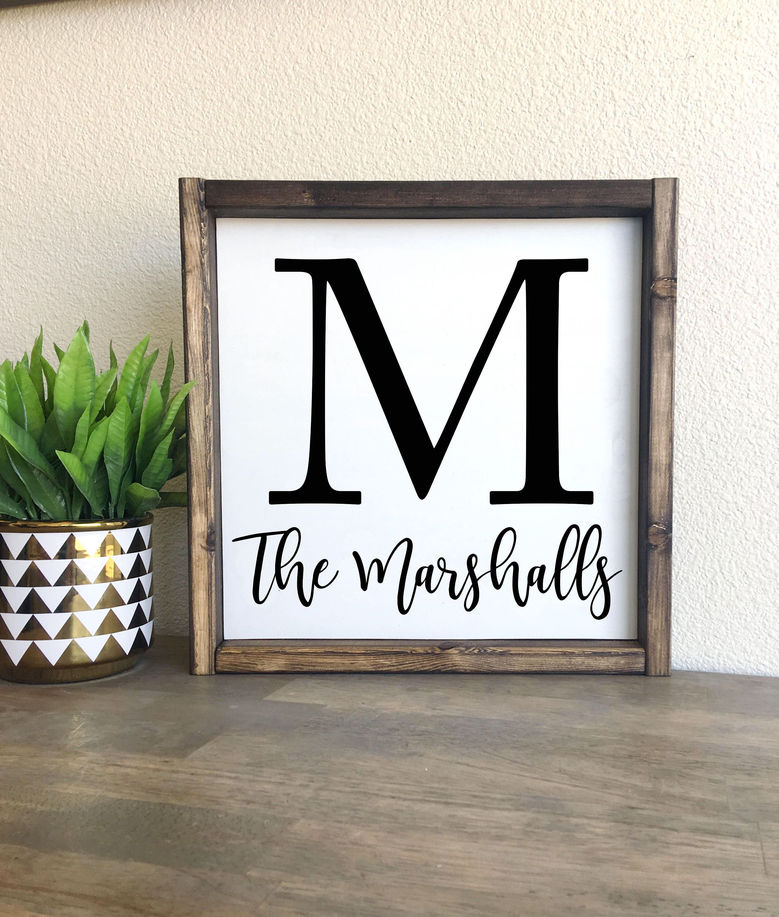 Last name | Custom name sign | Framed wood sign | Wood signs, Woods ...
