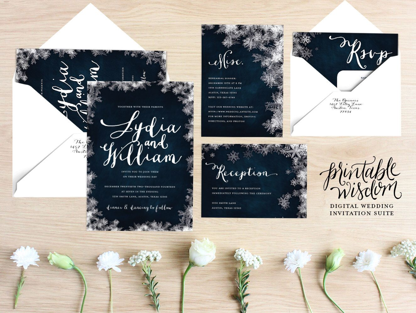 winter wedding invitation suite printable wedding invite vintage