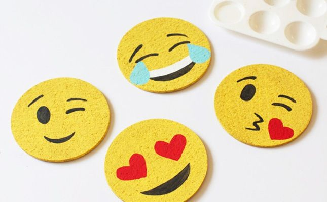Use some paint to upgrade basic coasters into emojis