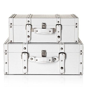 Superior High Fashion Storage With Stylish White Veneto Suitcases.