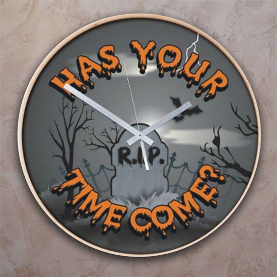 "A hilarious must have in the Halloween decor. This Halloween wall clock is titled, ""Has Your Time Come?"" and features a spooky grave yard. Choose from 2 great styles. Both clocks are a generous 16 inch diameter for easy viewing."