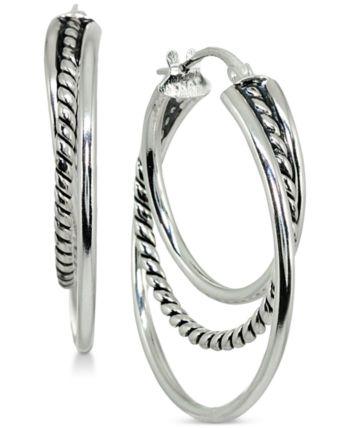 c89c6391f Giani Bernini Small Textured Triple Hoop Earrings in Sterling Silver, 1