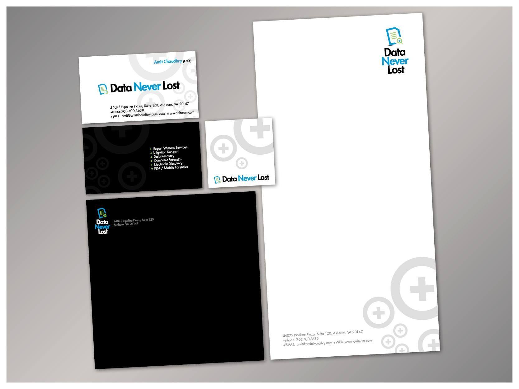 printed stationery showing both horizontal and vertical logos