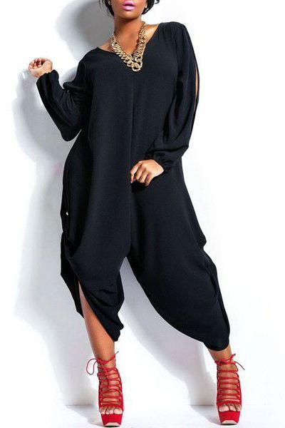 c37f97f42ba Love   Beauty Black Stylish V-Neck Long Sleeve Cut Out plus size jumpsuits  and rompers for women LC60601 casual women overalls