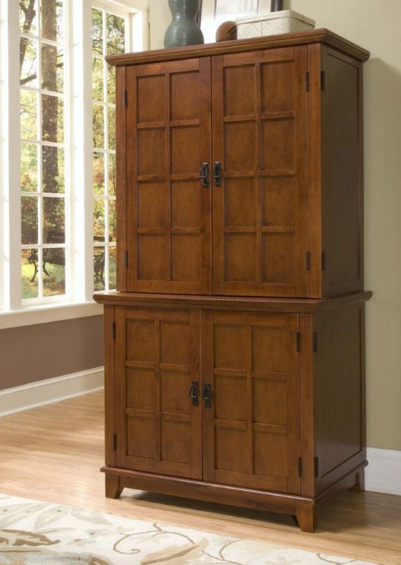 Arts Amp Crafts Cottage Oak Computer Armoire Desk Cabinet