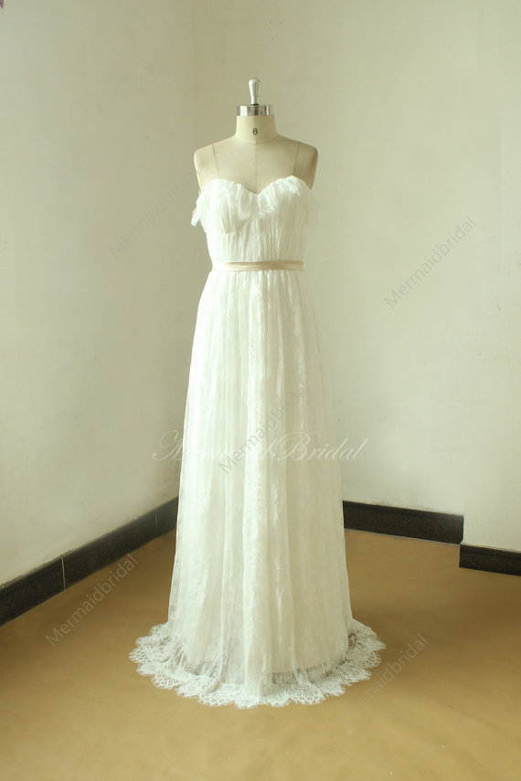 Ivory A line beach lace wedding dress, wedding gown with champange ...
