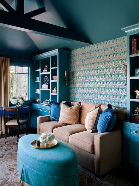 Stunning Living Room With Builtin Turquoise Bookshelves Flanking Gorgeous Turquoise Living Room Design Decoration