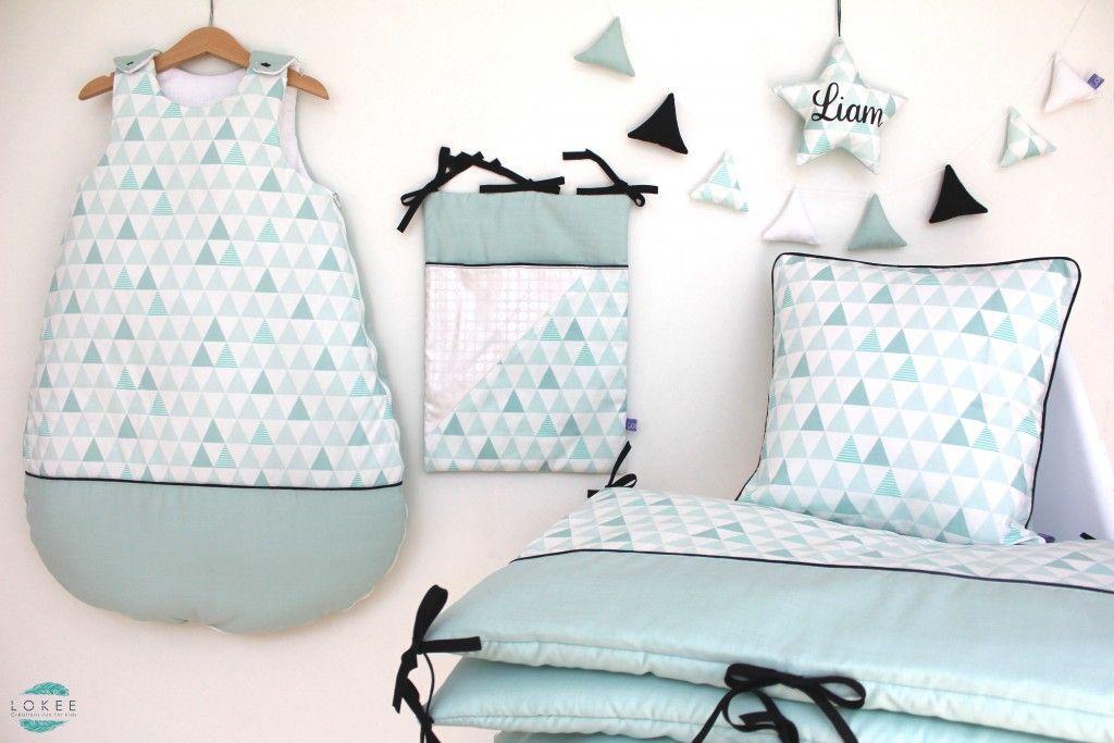 tour de lit gigoteuse coussin guirlande de triangles toile joli pr nom range pyjama. Black Bedroom Furniture Sets. Home Design Ideas