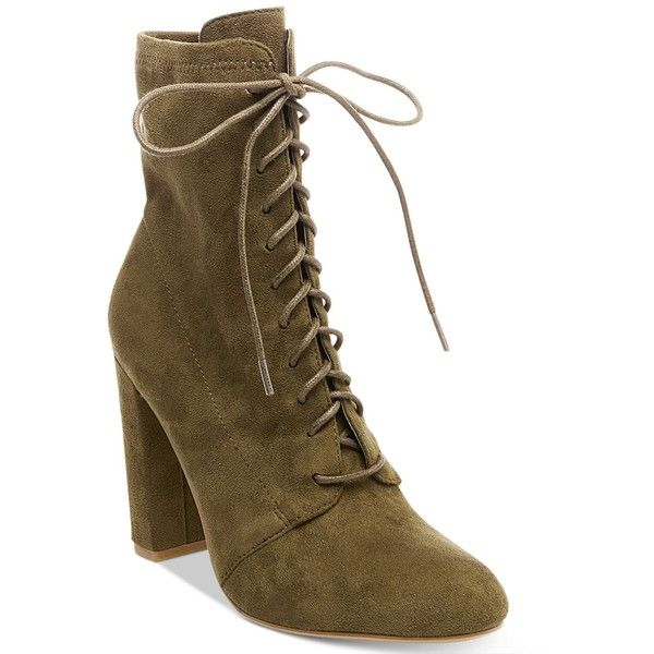 bce0a11e9bb5 Steve Madden Women s Elley Lace-Up Block-Heel Booties ( 99) ❤ liked on  Polyvore featuring shoes