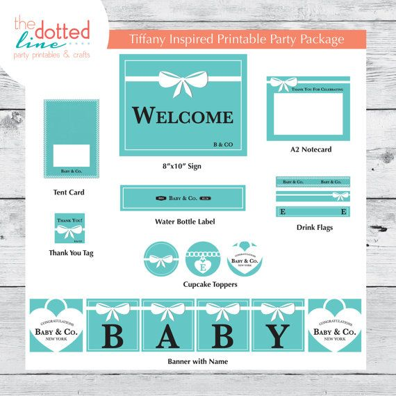 Tiffany Inspired Baby Shower Collection by thedottedlineparty, $32.00