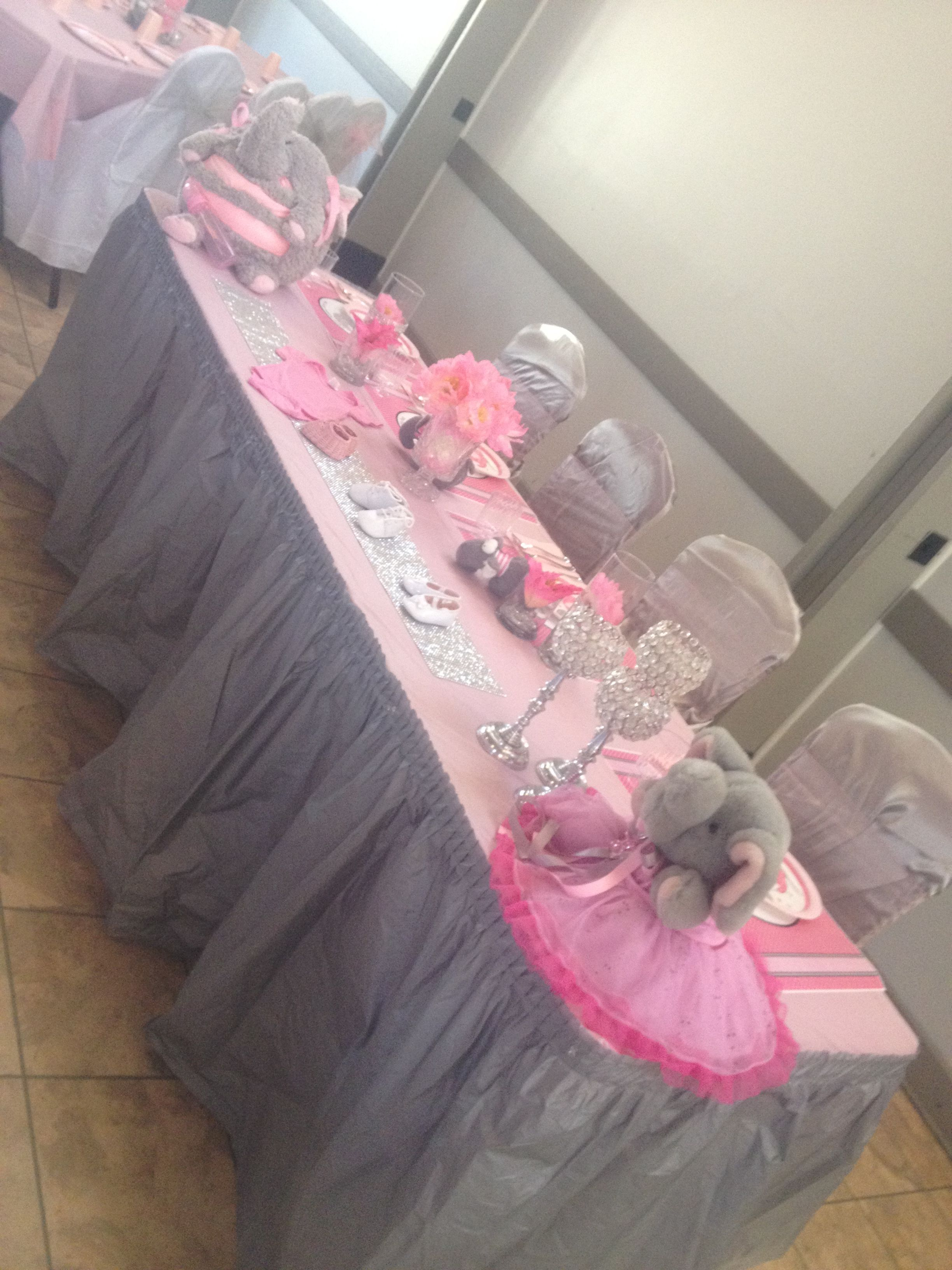 pink and greysilver elephant baby shower