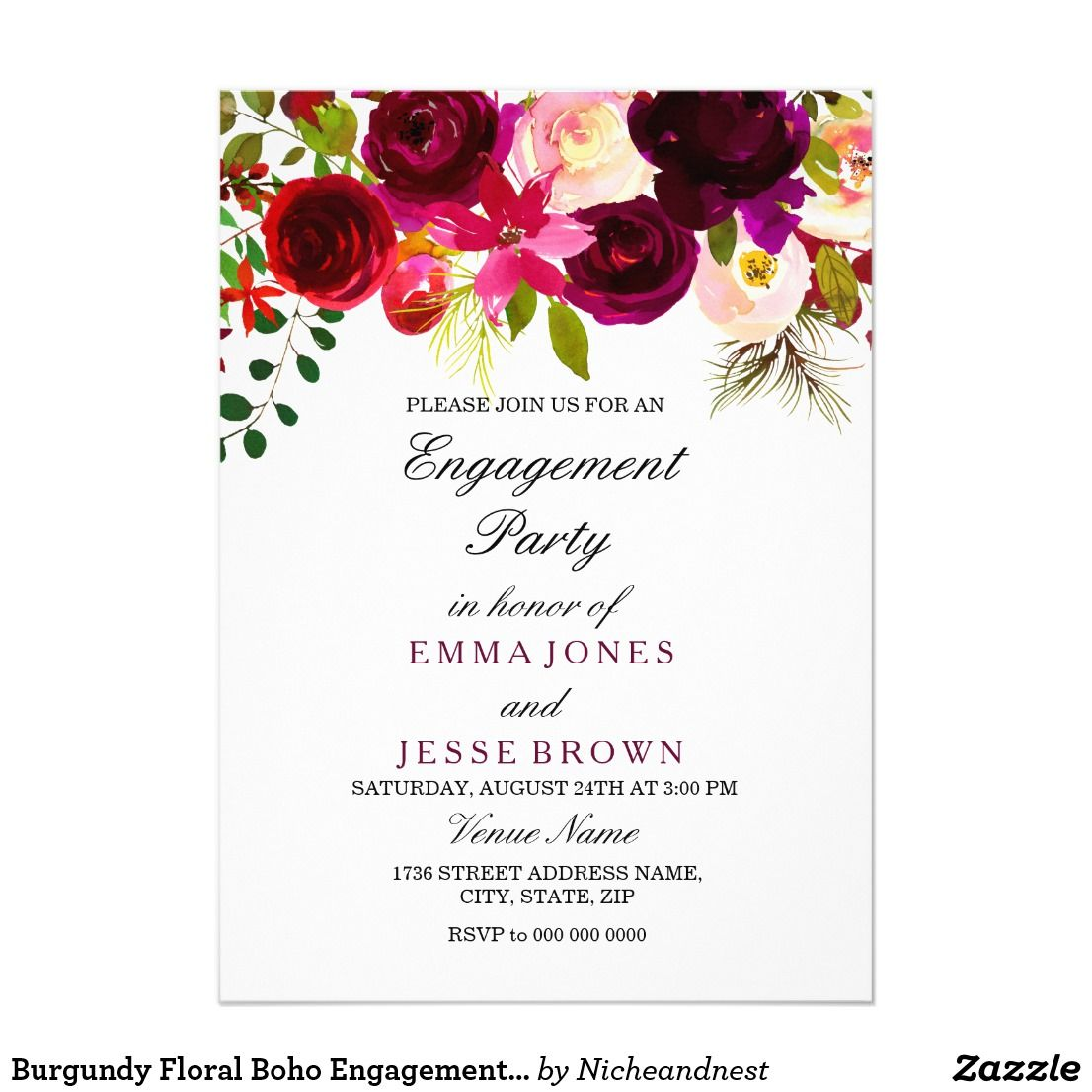 Burgundy Floral Boho Engagement Party Invitation | Engagement ...