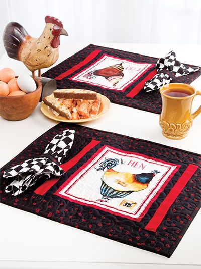 French Hens Place Mats With Napkins Quilted Table Runners Patterns Placemats Placemats Patterns