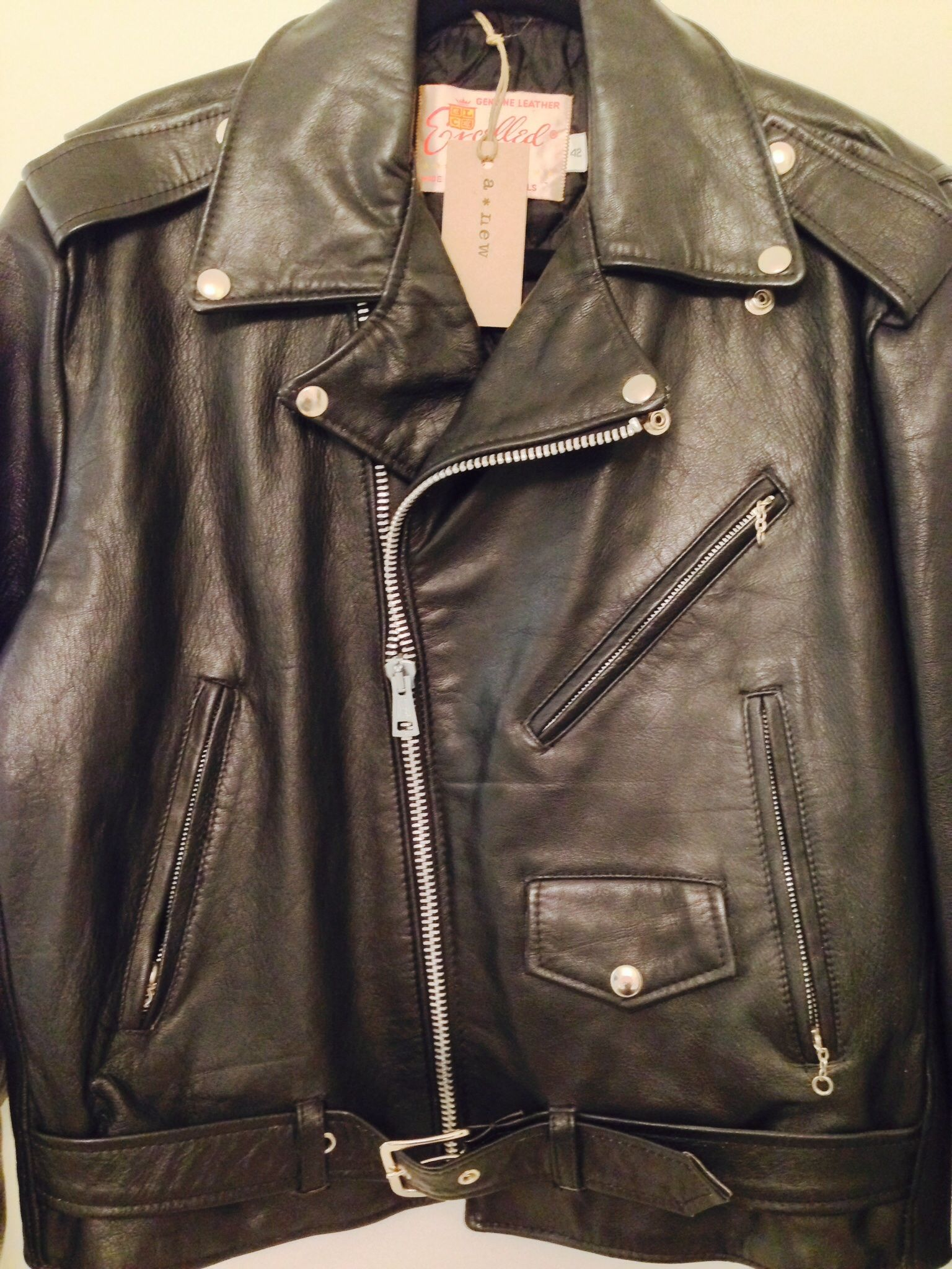 Excelled Vintage Leather Biker Jacket Men S Size 42 Made In Usa Leather Bike Jacket Bike Jacket Men Biker Jacket Men [ 2048 x 1536 Pixel ]