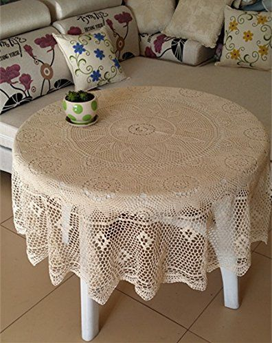Ustide Rustic Cotton Beige Table Cloth Round Handmade Crochet