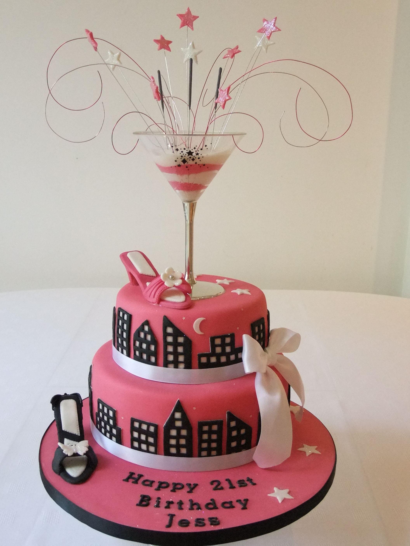Cool Pink Black Shoe Cocktail Satc Birthday Cake City Cake 40Th Birthday Cards Printable Inklcafe Filternl