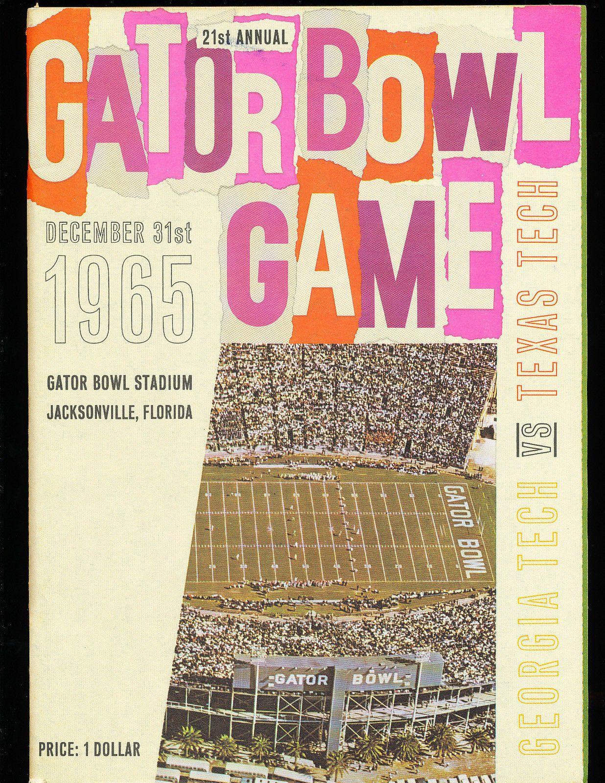 1965 Texas Tech vs Tech Gator Bowl Football