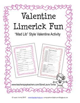 valentine limerick fun high school english valentines day activities valentine activities. Black Bedroom Furniture Sets. Home Design Ideas