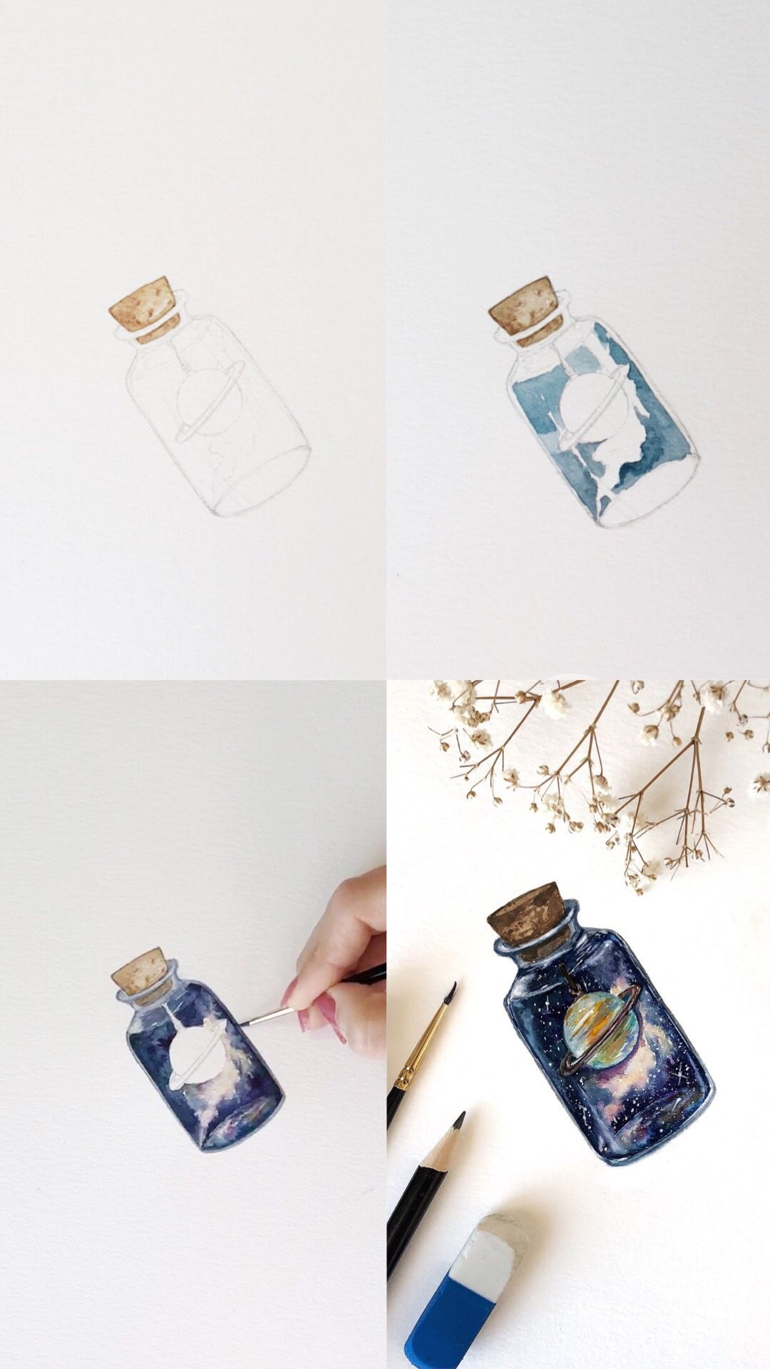 Mini Galaxy in a bottle with Saturn doodle tutorial with step by step process photos