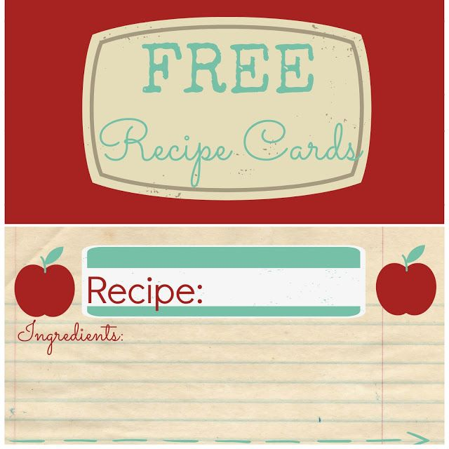 Free Recipe Card Printable l Couches and Cupcakes recipie books - recipe card